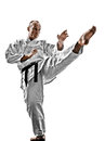 Karate man one kata training isolated on white background Stock Photo