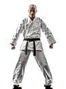 Karate man one kata training isolated on white background Royalty Free Stock Photo