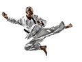 Karate man one kata training on white background Stock Photos