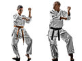Karate men teenager student teacher teaching two sensei and isolated on white background Royalty Free Stock Photography