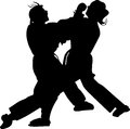 Karate vector competition in womens kategory silhouette Stock Photography