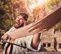 Karateka breaks board Royalty Free Stock Photo