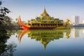 The karaweik is a replica of a burmese royal barge on kandawgyi yangon myanmar feb restaurant lake february in yangon myanmar Stock Image