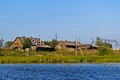 Karelian village view from the river Royalty Free Stock Image