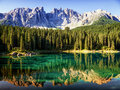 Karerlake at the dolomites in italy Royalty Free Stock Photography