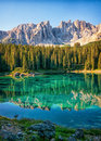 Karerlake at the dolomites in italy Stock Photo