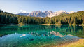 Karerlake at the dolomites in italy Royalty Free Stock Photo