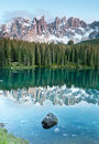 Karersee lake in the dolomites in south tyrol italy lago di carezza is a Royalty Free Stock Photography
