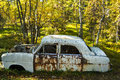 Karhunkierros rusty old car in the forrest Royalty Free Stock Photography