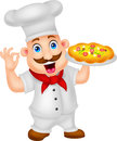 Karikatur chef character with pizza Stockbilder