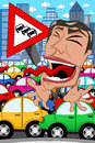 Karikatur geschäftsmann screaming traffic jam Stockbild