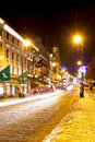 Karl johans gate at winter night oslo norway february oslo s main street on february the street is meters long Stock Photos
