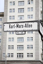 Karl marx allee street sign berlin germany Stock Photos
