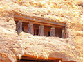 Karla caves on mountain in india ancient and ruins Stock Image