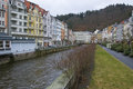Karlovy vary cityscape czech republic of in with tepla river the town is famous as a spa resort Royalty Free Stock Image