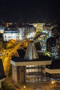 Karlovy vary in evening light panorama of center Royalty Free Stock Photography