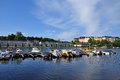 Karlsberg castle stockholm sweden and boat pier Stock Photography