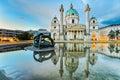 Karlskirche in vienna austria at sunrise st charles s church Stock Photos