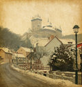 Karlstejn castle retro image of in the czech republic added paper texture Stock Photos
