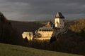 Karlstejn castle in sunset is famous located in heart of czech republic Royalty Free Stock Photo