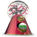 Karma gum ball machine win best good luck destiny fate word on balls in a dispenser to illustrate and when choosing or selecting Stock Images