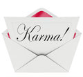 Karma invitation letter message open envelope good news luck word on a note or inside an to illustrate a of or to illustrate a Stock Photography