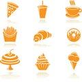 Karmowe ikony Obrazy Royalty Free