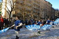 Karneval - mittelalterliche Flag-wavers Stockfotografie