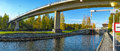 Karvio rapids and karvio channel below of lock panorama view to with shipping on karvion kanava finland Royalty Free Stock Image