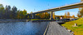 Karvio rapids and karvio channel below of lock panorama view to with shipping on karvion kanava finland Royalty Free Stock Images