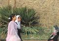 Kashmiri girls going to market in srinagar india Royalty Free Stock Images