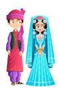 Kashmiri wedding couple easy to edit vector illustration of Royalty Free Stock Photos