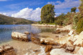 Kassiopi on corfy view of a picturesque cove the peninsula corfu greece Stock Photography