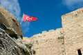 Kastamonu castle turkey flag wall of a fortress with a of Stock Images