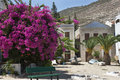 Kastellorizo - traditional island houses in small square Royalty Free Stock Image