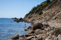 Katakolon beach a rocky shore near the town of greece Royalty Free Stock Photos