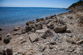 Katakolon beach a rocky shore near the town of greece Royalty Free Stock Photography