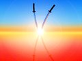 Katana two sword on sunset background Stock Photo