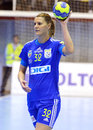 Katarina bulatovic of oltchim ramnicu valcea pictured in action during a ehf champions league game between and slovenian Royalty Free Stock Photos