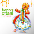 Kathakali dancer on advertisement and promotion background for Happy Onam festival of South India Kerala