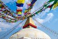 Kathesimbu stupa in kathmandu nepal with buddha wisdom eyes and prayer colorful flags Royalty Free Stock Photos