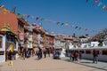 Kathmandu nepal december street around stupa in bou boudhanath bodnath temple the largest Royalty Free Stock Photography