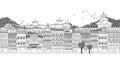 Kathmandu nepal seamless banner of kathmandu s skyline hand drawn black and white illustration Stock Photo