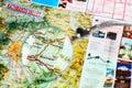 Kathmandu valley landmarks through magnifying glass focus on bhaktapur Royalty Free Stock Images