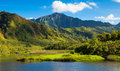 Kauai mountains lush at the north coast of island hawaii Stock Image