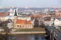 Kaunas history the view of city old town with xvth century vytautas the great church in the center lithuania Stock Photography