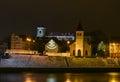 Kaunas old town, sundial, Nemunas river night view Royalty Free Stock Photo