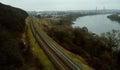 Kaunas railway to the nemunas river Royalty Free Stock Images