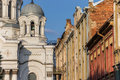 Kaunas st michael the archangel church and old houses colorful Stock Images