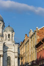 Kaunas st michael the archangel church and old houses colorful Stock Image